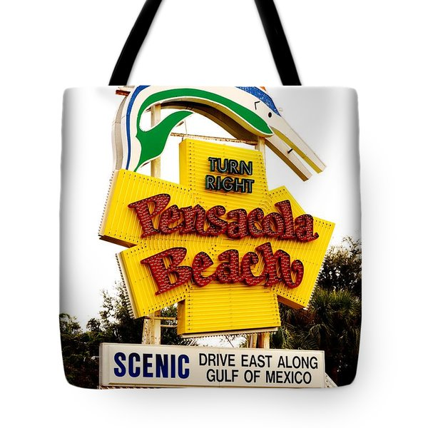 Historic Pensacola Beach Sign Tote Bag by Janice Spivey