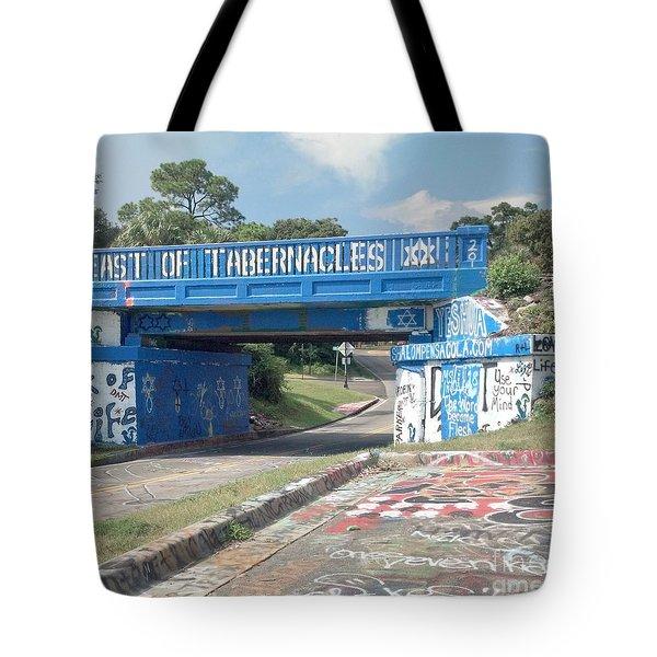 Historic Pensacola Graffiti Bridge Tote Bag