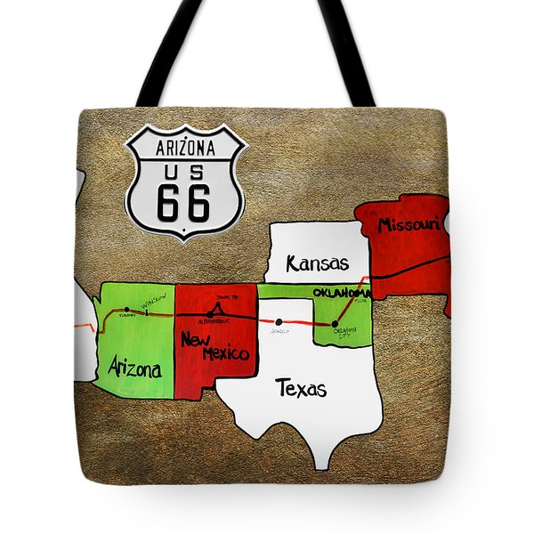 Historic Route 66 - The Mother Road Tote Bag by Christine Till