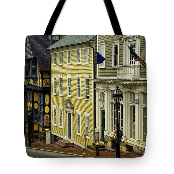 Tote Bag featuring the photograph Historic Street In Providence Ri by Nancy De Flon