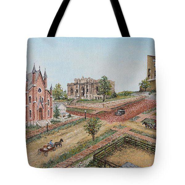 Tote Bag featuring the painting Historic Street - Lawrence Kansas by Mary Ellen Anderson