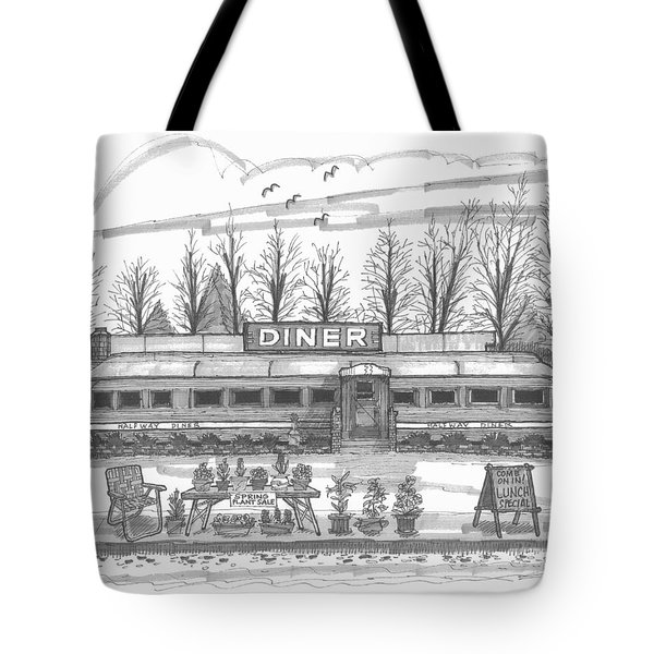 Tote Bag featuring the drawing Historic Village Diner by Richard Wambach