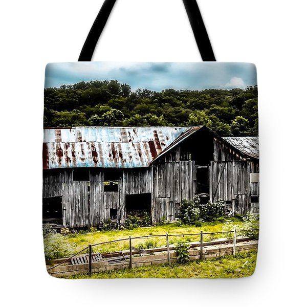 History Left Behind  Old Barn Tote Bag by Peggy Franz