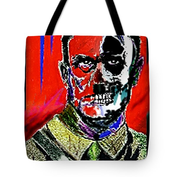 Tote Bag featuring the painting Hitler  - The  Face  Of  Evil by Hartmut Jager