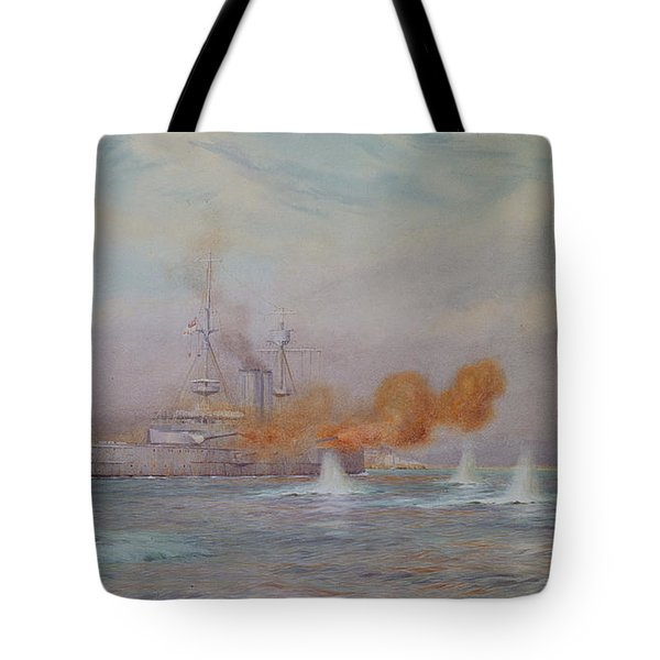 H.m.s. Albion Commanded By Capt. A. Walker-heneage Completing The Destruction Of The Outer Forts Tote Bag