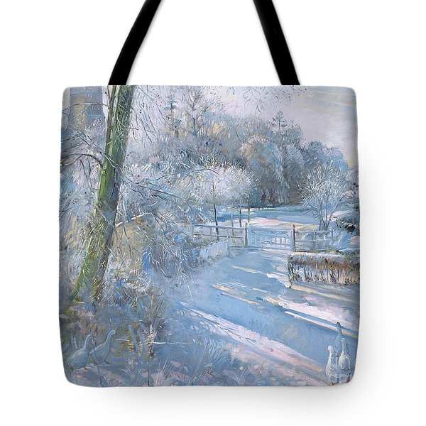 Hoar Frost Morning Tote Bag by Timothy  Easton