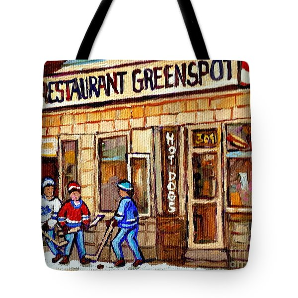 Hockey And Hotdogs At The Greenspot Diner Montreal Hockey Art Paintings Winter City Scenes Tote Bag by Carole Spandau
