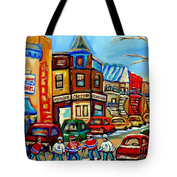 Hockey Art Montreal Winter Street Scene Painting Chez Vito Boucherie And Fairmount Bagel Tote Bag by Carole Spandau