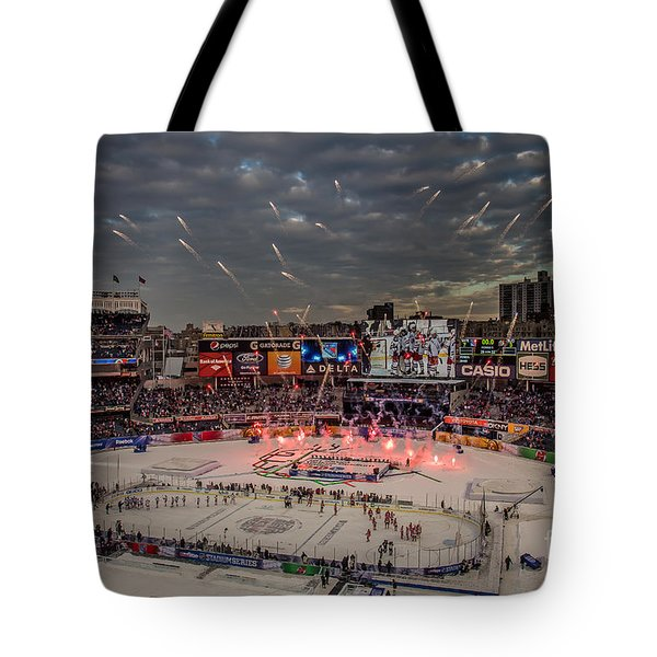 Hockey At Yankee Stadium Tote Bag by David Rucker