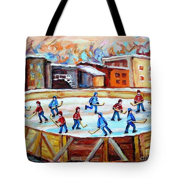 Hockey In The City Outdoor Hockey Rink Montreal Memories Winter City Scenes Painting Carole Spandau  Tote Bag by Carole Spandau