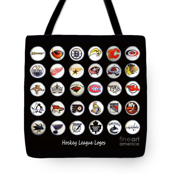 Hockey League Logos Bottle Caps Tote Bag by Barbara Griffin