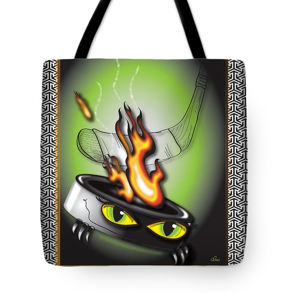 Hockey Puck In Flames Tote Bag