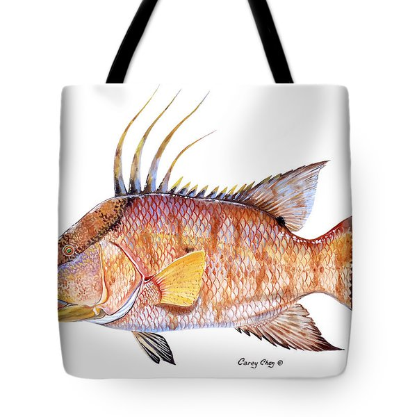 Hog Fish Tote Bag by Carey Chen