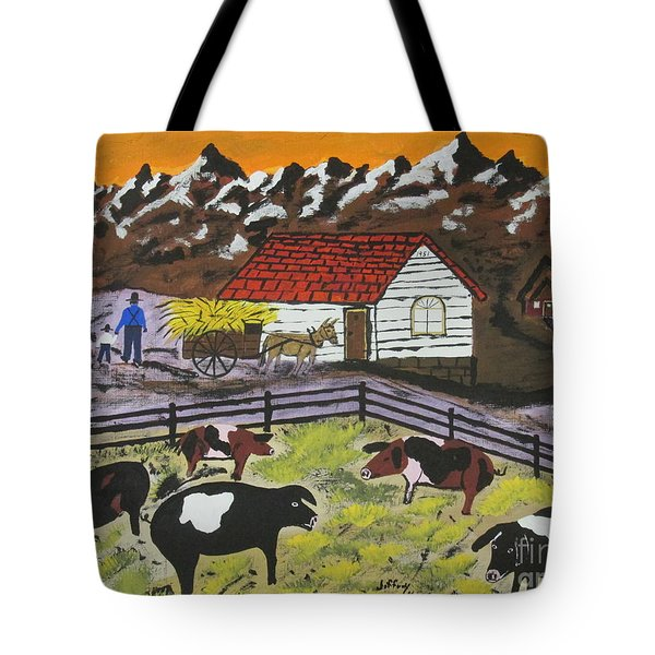 Tote Bag featuring the painting Hog Heaven Farm by Jeffrey Koss