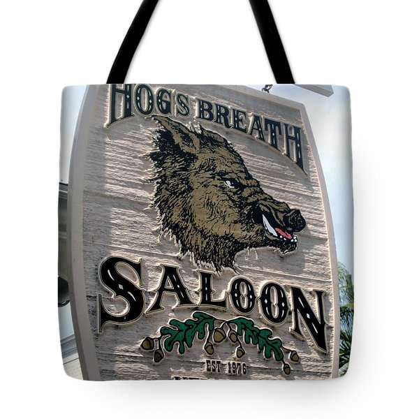 Tote Bag featuring the photograph Hog's Breath Saloon by Fiona Kennard