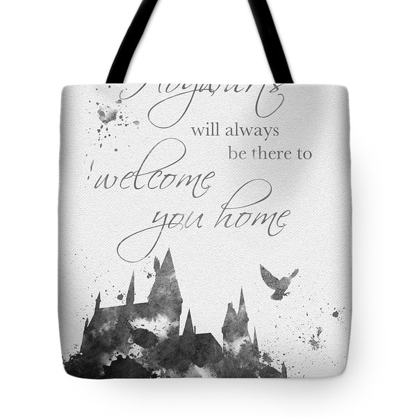 Hogwarts Quote Black And White Tote Bag