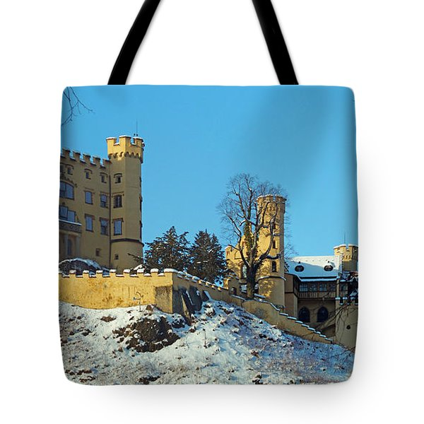 Hohenschwangau Castle Panorama In Winter Tote Bag by Rudi Prott