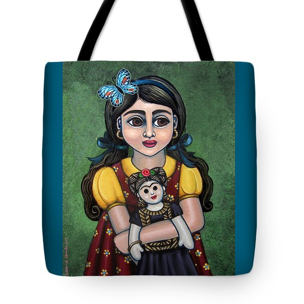 Holding Frida With Butterfly Tote Bag by Victoria De Almeida
