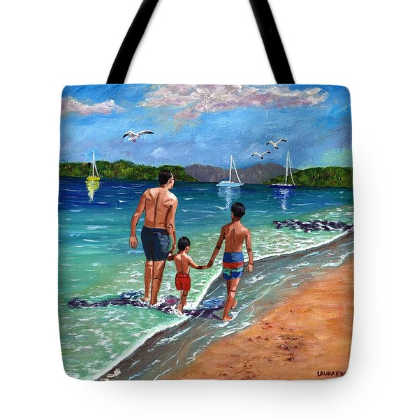 Tote Bag featuring the painting Holding Hands by Laura Forde