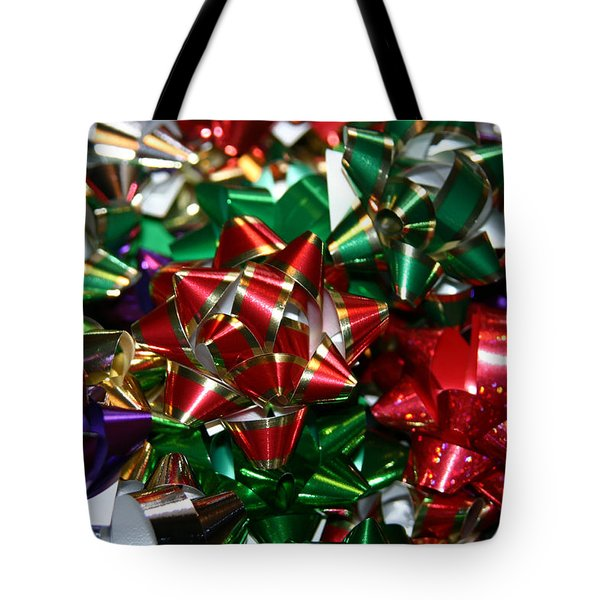 Tote Bag featuring the photograph Holiday Bows by Denyse Duhaime
