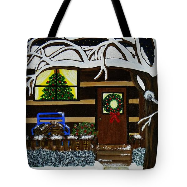 Tote Bag featuring the painting Holiday Cabin by Celeste Manning