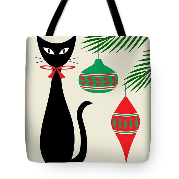 Tote Bag featuring the digital art Holiday Cat On Cream by Donna Mibus