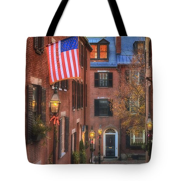 Holiday On Acorn Tote Bag by Joann Vitali