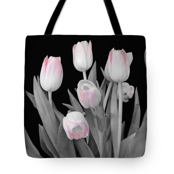 Tote Bag featuring the photograph Holland Tulips In Black And White With Pink by Jeannie Rhode