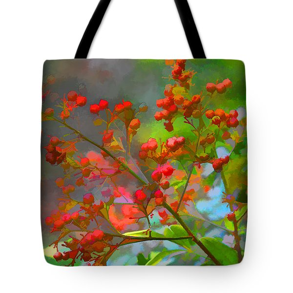 Holly Berry Tote Bag by Bonnie Willis