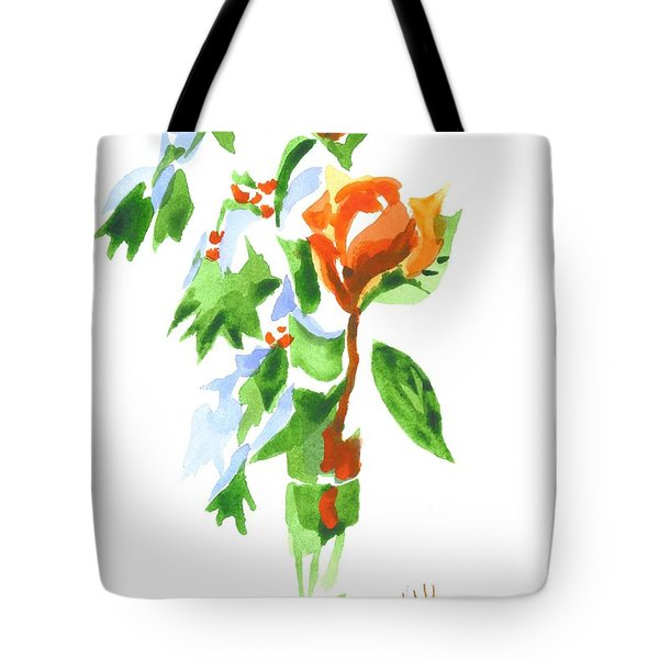 Tote Bag featuring the painting Holly With Red Roses In A Vase by Kip DeVore