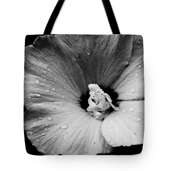 Hollyhock In Black And White Tote Bag