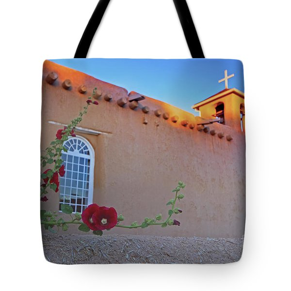 Hollyhocks On Adobe Tote Bag