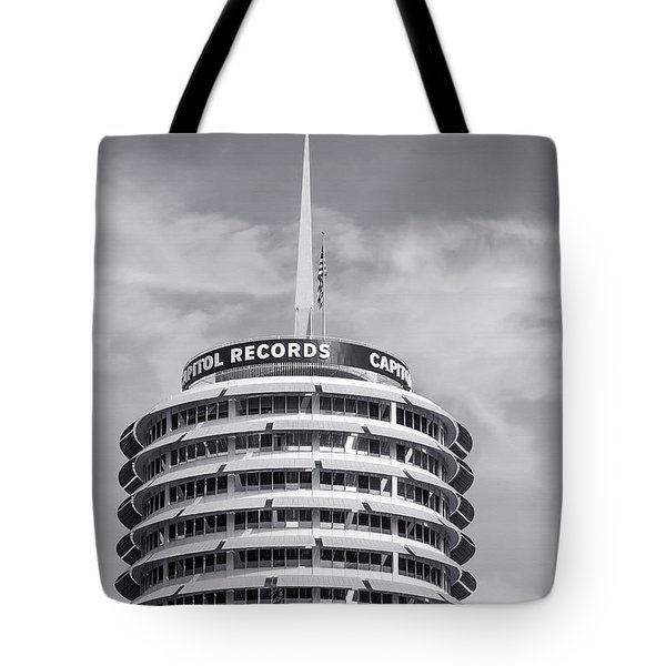 Tote Bag featuring the photograph Hollywood Landmarks - Capitol Records by Art Block Collections