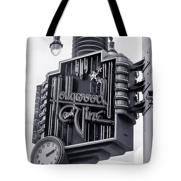 Tote Bag featuring the photograph Hollywood Landmarks - Hollywood And Vine Sign by Art Block Collections
