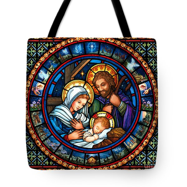 Holy Family Christmas Story Tote Bag