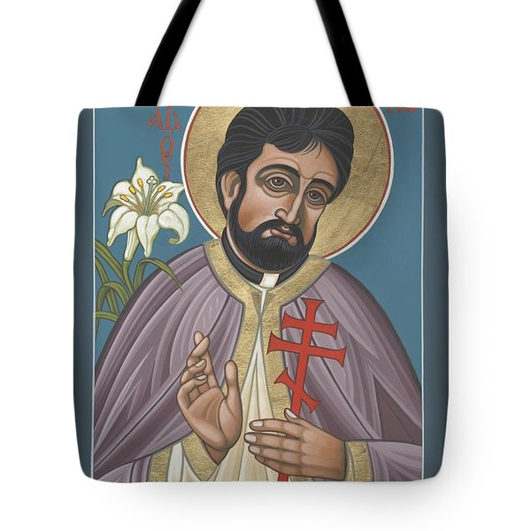 Tote Bag featuring the painting Holy New Martyr Father John Karastamatis Of Santa Cruz 216 by William Hart McNichols