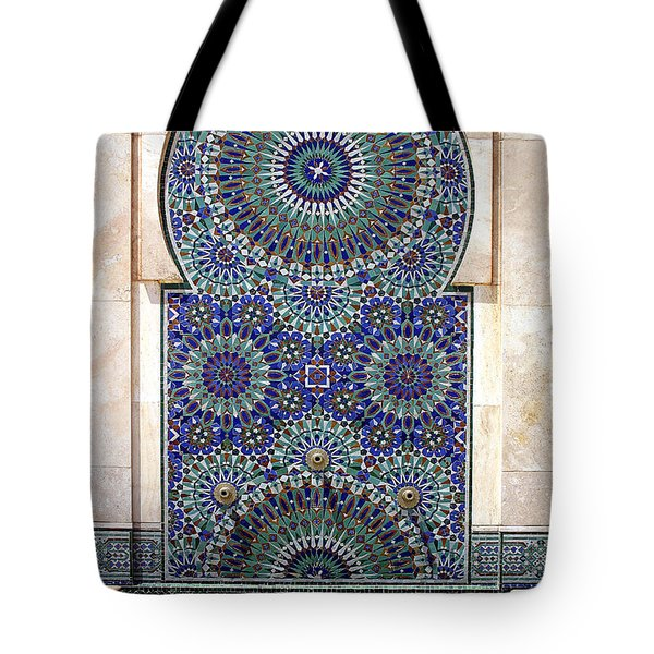 Holy Water Fountain Hassan II Mosque Sour Jdid Casablanca Morocco  Tote Bag