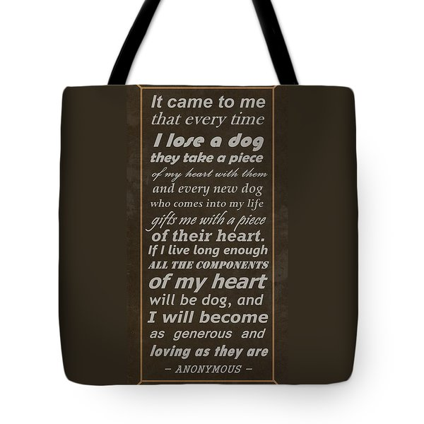 Homage To The Dogs In Our Lives Tote Bag by Movie Poster Prints