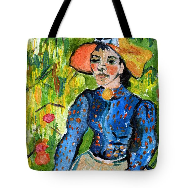 Homage To Vincent Young Women In Straw Hat Sitting In Wheat Field Tote Bag