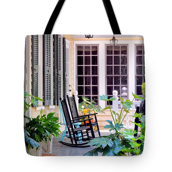Veranda - Charleston, S C By Travel Photographer David Perry Lawrence Tote Bag