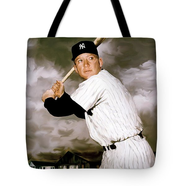 American Fabric   Mickey Mantle Tote Bag by Iconic Images Art Gallery David Pucciarelli