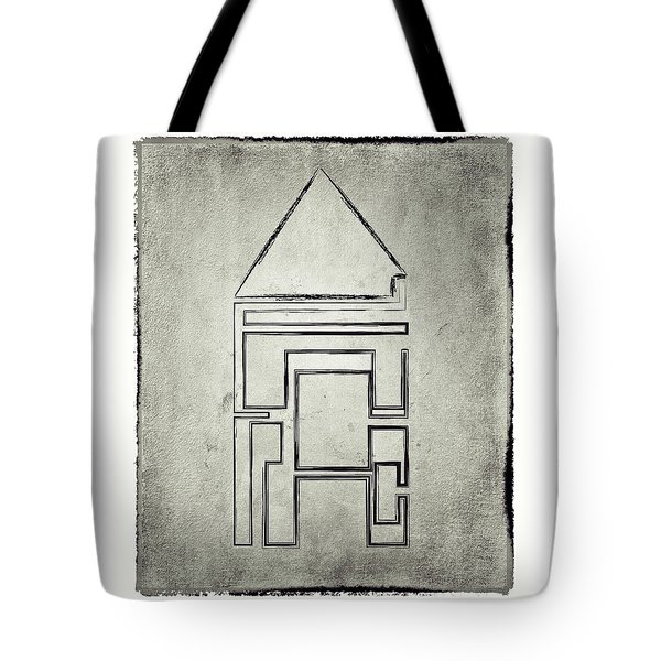Tote Bag featuring the drawing Home Structure In Stone by Lenny Carter