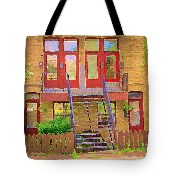 Home Sweet Home Red Wooden Doors The Walk Up Where We Grew Up Montreal Memories Carole Spandau Tote Bag by Carole Spandau