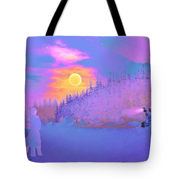 Homebound Train Angel And A Suitcase Tote Bag