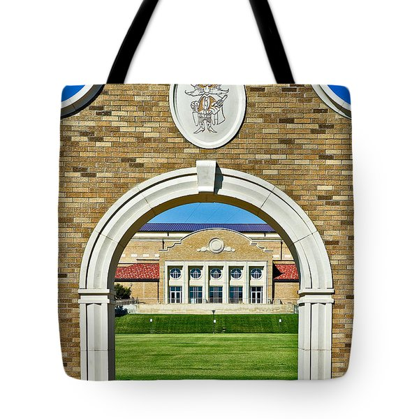 Tote Bag featuring the photograph Homecoming Bonfire Arch by Mae Wertz