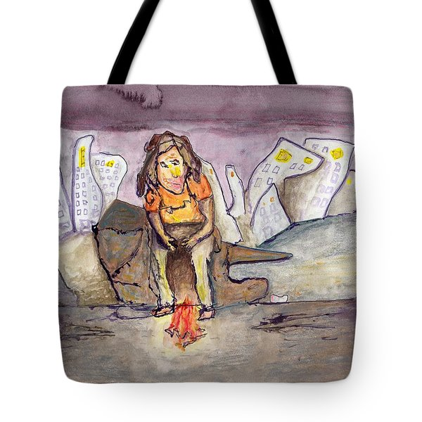 Homeless On The Edge Of The City Tote Bag