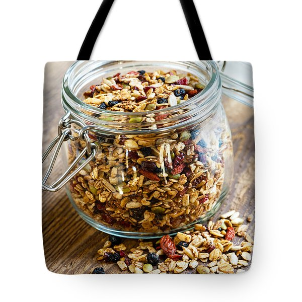 Homemade Granola In Glass Jar Tote Bag