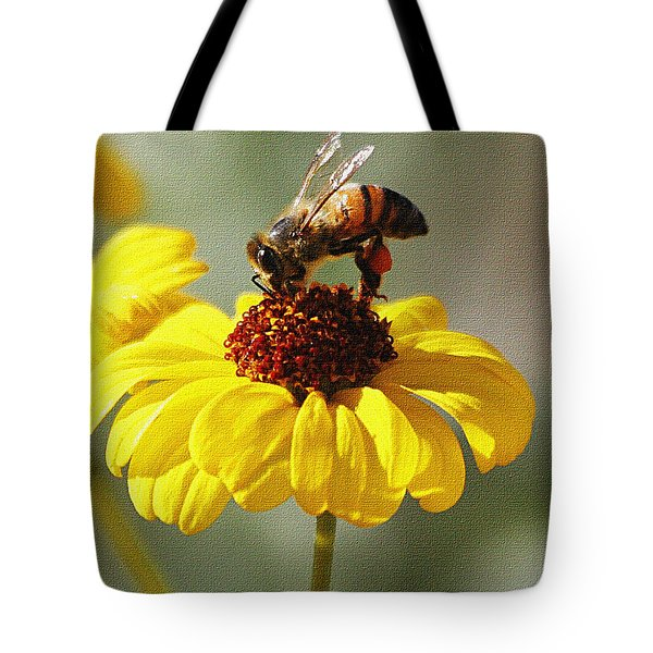 Honey Bee And Brittle Bush Flower Tote Bag by Tom Janca