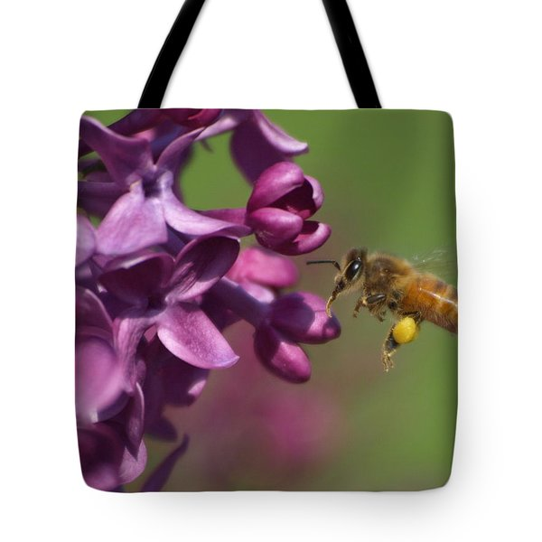 Tote Bag featuring the photograph Honey Bee And Lilac by James Peterson