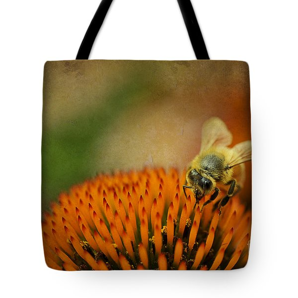 Honey Bee On Flower Tote Bag by Dan Friend